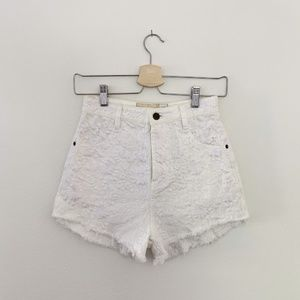 Free People Embroidered Denim Shorts